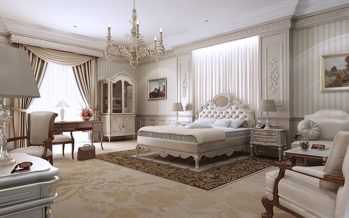 Bedrooms classic and created by on pinterest for Bedroom designs white